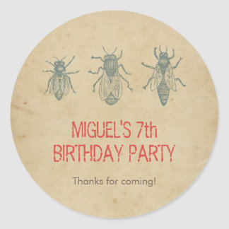 Vintage Bees Kids Birthday Party Favors Thank You Round Stickers