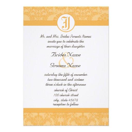 Vintage Beeswax Damask Your Photo Wedding Invites