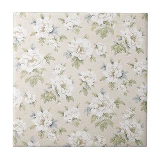Vintage beige floral design small square tile