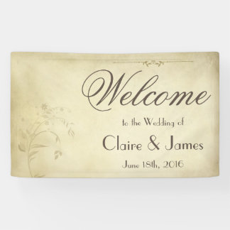 Vintage Beige Floral Welcome Wedding Banner
