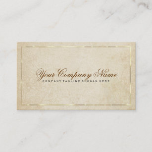 Vintage Beige Paper Background Gold Accents 2 Business Card