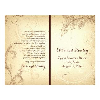 Vintage beige scroll leaf folded wedding program flyer