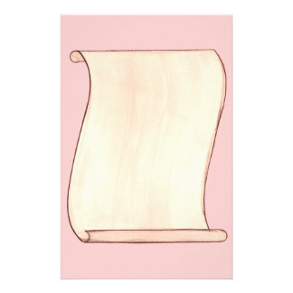 Vintage Beige Scroll on Pink Stationery
