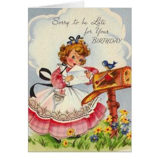 Vintage Belated Birthday Greeting Card