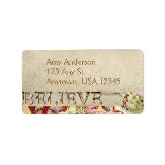 """Vintage """"Believe"""" Address Labels"""