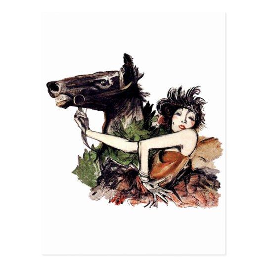 Vintage Belle Epoque Horse Poster Postcard