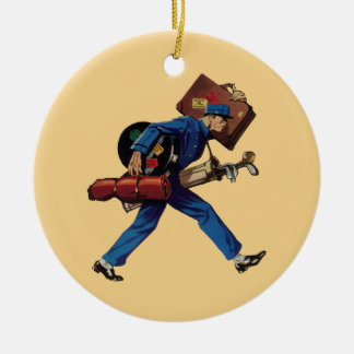 Vintage Bellhop in Uniform and Carrying Luggage Ceramic Ornament