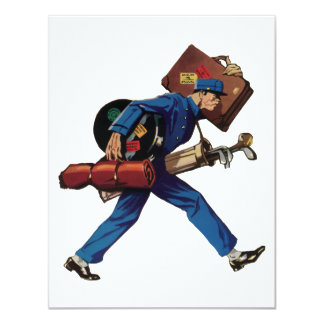 Vintage Bellhop in Uniform and Carrying Luggage Announcements
