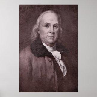 Vintage Benjamin Franklin Portrait Poster