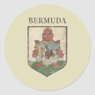 Vintage Bermuda Coat Of Arms Classic Round Sticker