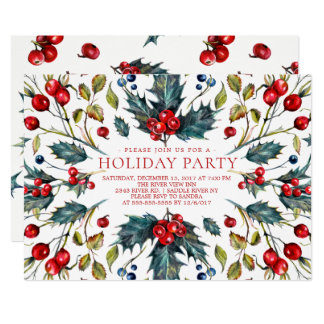 Vintage Berry Holly Holiday Invitation