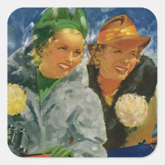 Vintage Best Friends; Elegant and Stylish Women! Square Sticker