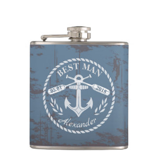 Vintage best man rustic nautical background flask
