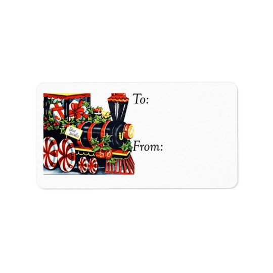 Vintage Best Wishes Christmas Train Gift Tag Address Label