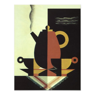 Vintage Beverages, Coffee Pot with Cups Invitation
