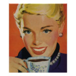 Vintage Beverages, Smiling Woman Drinking Coffee Poster