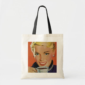 Vintage Beverages, Smiling Woman Drinking Coffee Bags