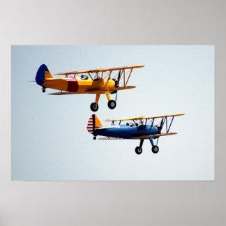 Vintage Bi-Planes in flight Poster