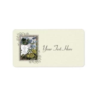 Vintage Bible Scripture With Roses Label