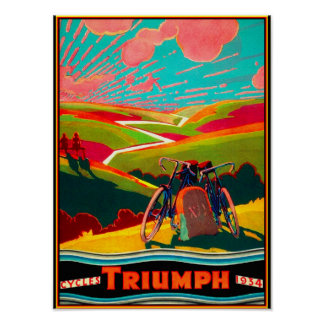 Vintage Bicycle Ad - Bike on Hillside Poster