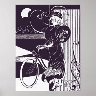 Vintage Bicycle Ad Bold Woman Art Nouveau Purple Poster