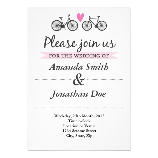 Vintage Bicycle and Hearts Wedding Invitation Personalized Invites