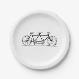 Vintage Bicycle Built For Two / Tandem Bike 7 Inch Paper Plate