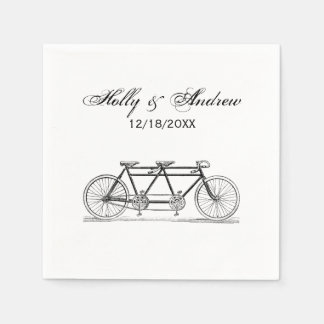 Vintage Bicycle Built For Two / Tandem Bike Disposable Napkin
