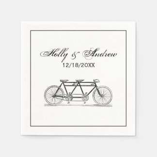 Vintage Bicycle Built For Two / Tandem Bike Disposable Serviettes