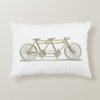 Vintage Bicycle Built For Two / Tandem Bike Gold Decorative Cushion