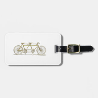 Vintage Bicycle Built For Two / Tandem Bike Gold Luggage Tag