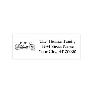 Vintage Bicycle Built For Two / Tandem Bike Rubber Stamp