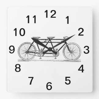 Vintage Bicycle Built For Two / Tandem Bike Square Wall Clock