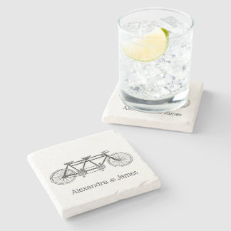 Vintage Bicycle Built For Two / Tandem Bike Stone Coaster