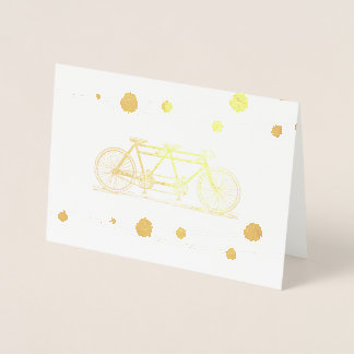 Vintage Bicycle Built For Two Wedding Thank You Foil Card