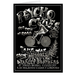Vintage Bicycle Card: Psycho Cycles Card