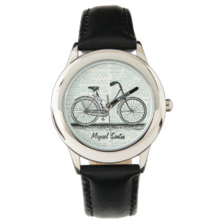 Vintage Bicycle Dictionary Page Art Personalized Wristwatch