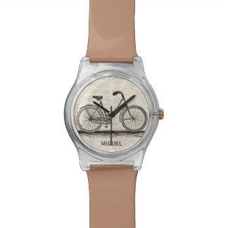 Vintage Bicycle Dictionary Page Custom Name Brown Watch