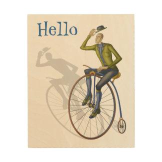 Vintage bicycle, hello wood print