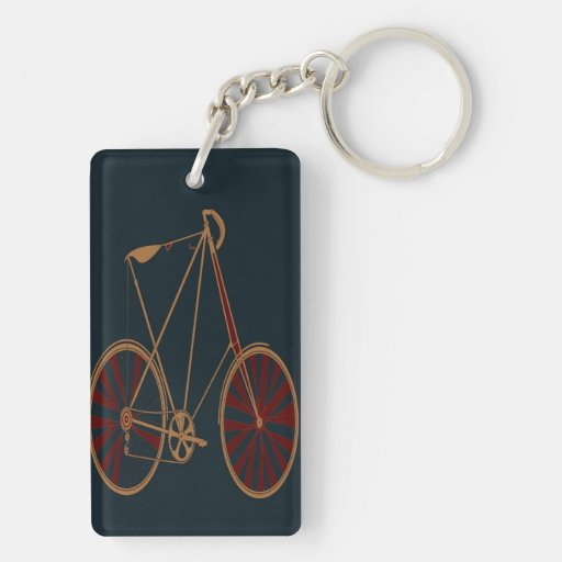 Vintage Bicycle Old School Blue Red Bike Rectangle Acrylic Key Chain