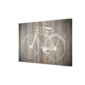 Vintage Bicycle on Rustic Wooden Board Wall Art