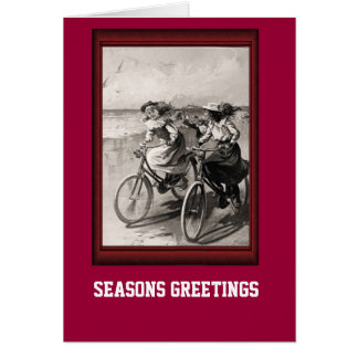 Vintage Bicycle Riding along the beach Card