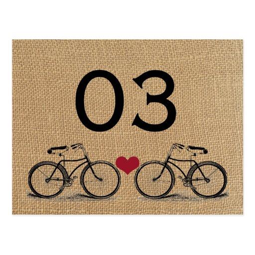 Vintage Bicycle Wedding Table Numbers Post Card