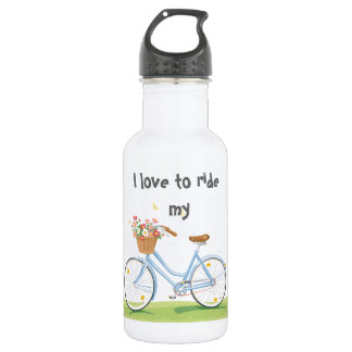 Vintage Bicycle with Flower Basket 532 Ml Water Bottle
