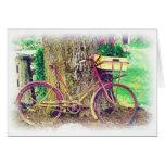 Vintage Bicycle with Flower Basket Greeting Card