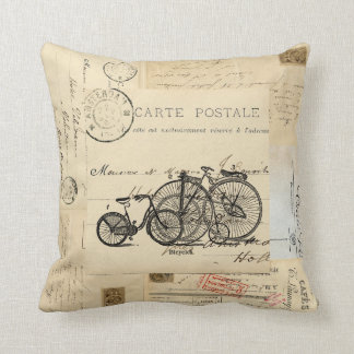 Vintage Bicycles French Postcard Pillow