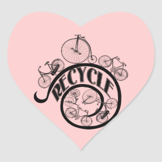 Vintage Bicycles Recycle Apparel and Gifts Heart Sticker
