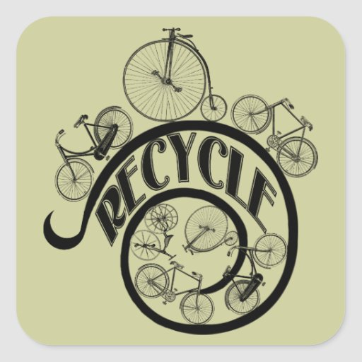 Vintage Bicycles Recycle Apparel and Gifts Square Sticker