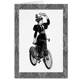 Vintage Bicyclist Greeting Card
