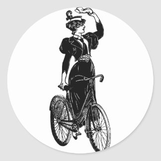 Vintage Bicyclist Round Sticker